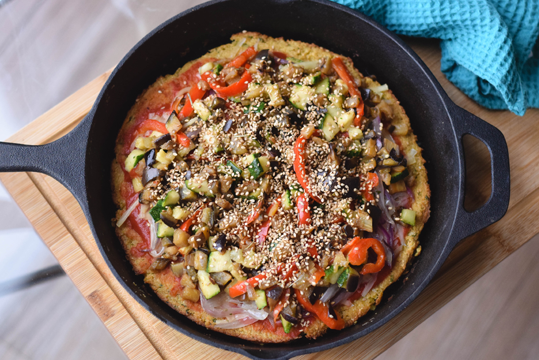 Pizza de coliflor vegetariana